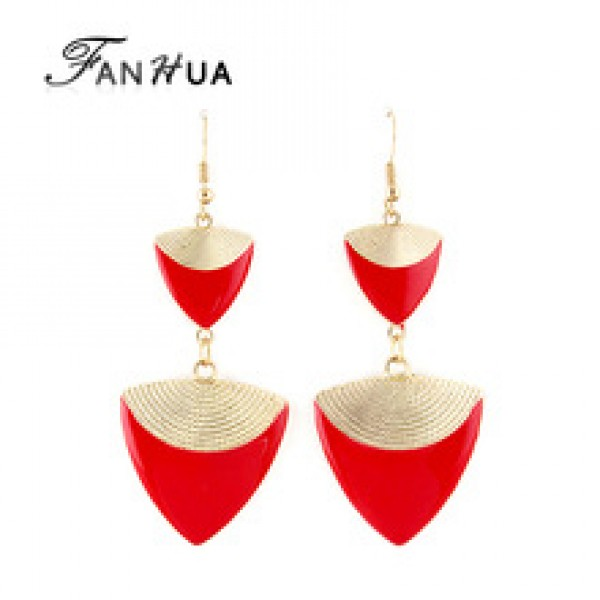 Triangle Shape Long Drop Earrings