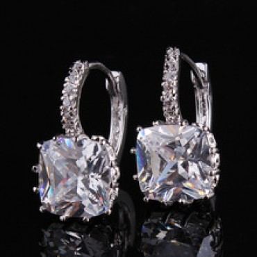 White Gold Plated White Crystal CZ Nice Hoop Earrings in Nepal.