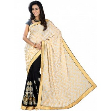 Beige, Black, Georgette, Embroidered, Festival, Design Saree in Nepal.