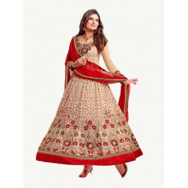 Beige Color Georgette Net Fabric Festive Dress in Nepal