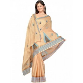 Beige, Cotton Saree  in Nepal.