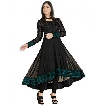 Black Faux Chiffon Unstitched Dress Material