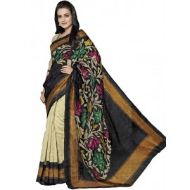 Black, Silk, Thread Work, Festival Saree  in Nepal.