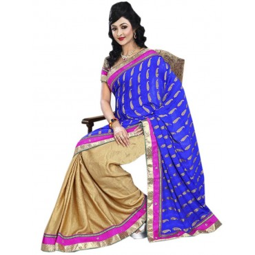 Blue,Beige Georgette,Jacquard Embroidered Saree in Nepal.