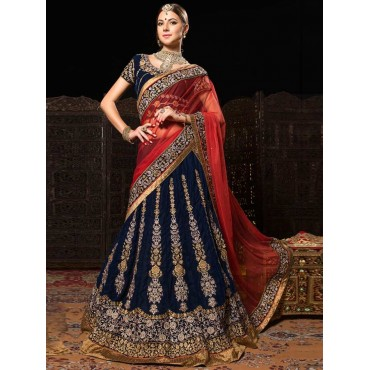 Blue Red Velvet Net Wedding Wear Lehenga in Nepal.