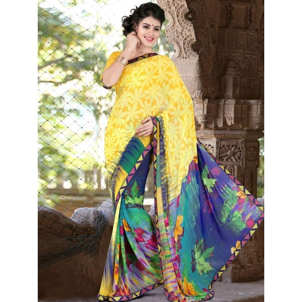 Blue,Yellow Faux Georgette Embroidered Saree in Nepal.