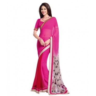 Brink Pink Georgette Embroidered Saree With Blouse Piece And Fall