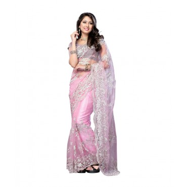 Corporation Pink Net Embroidered Saree With Blouse Piece