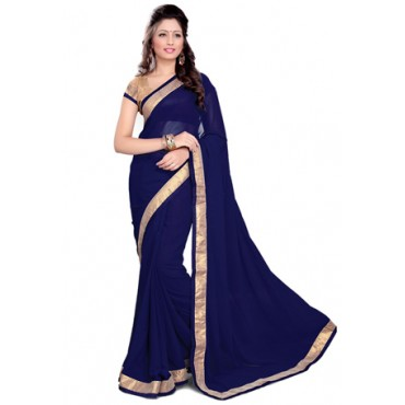 Dark Blue Faux Georgette Saree with Blouse