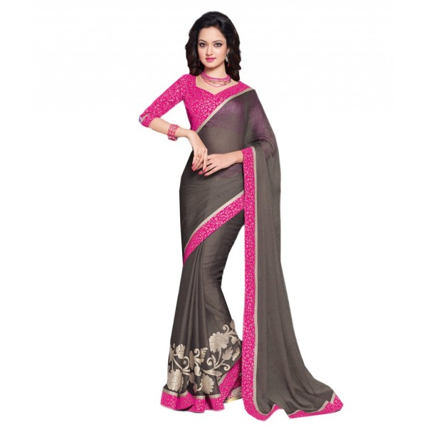 Davy Grey Georgette Embroidered Saree With Blouse Piece And Fall