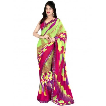 Green,Pink Faux Georgette Embroidered,Printeded Saree in Nepal.