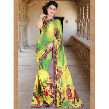 Green,Yellow Faux Georgette Embroidered,Printeded Saree in Nepal.