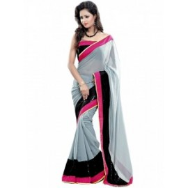 Grey Color, Georgette, Lace Designe Saree in Nepal.