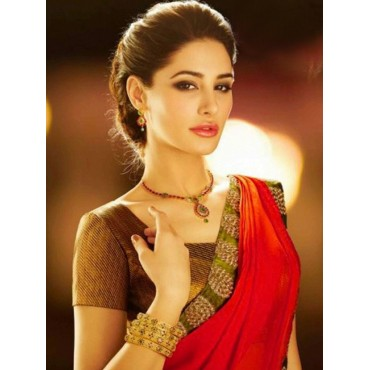 Nargis Fakhri Red Color Silk Fabric Embroidered Design Festive Wear Saree in Nepal.