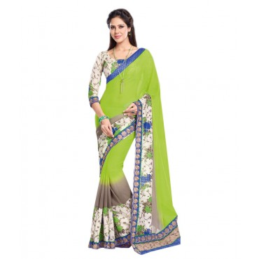 i Citron Green Georgette Embroidered Saree With Blouse Piece And Fall
