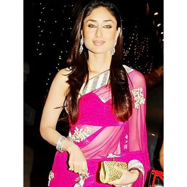 Kareena Kapoor Pink Color Georgette Fabric Embroidered Design Festive Wear Saree in Nepal.