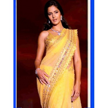 Katrina Kaif Yellow Color Chiffon Fabric Embroidered Design Festive Wear Saree in Nepal.