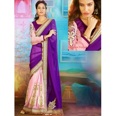 Lisa Haydon Blue Color Georgette Fabric Embroidered Design Festive Wear Saree in Nepal.