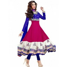 Multicolor Color Georgette Fabric Embroidered Anarkali Dress Material in Nepal.