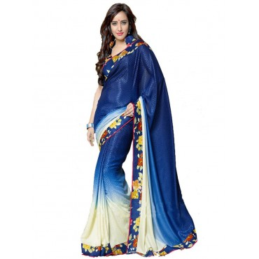 Neha Sharma & Blue Color Chiffon Fabric Festival Saree