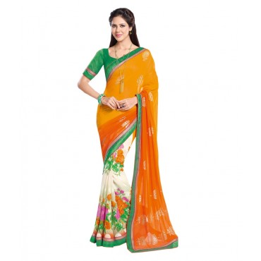 Yellow Georgette Flora Print Embroidered Saree With Blouse Piece And Fall