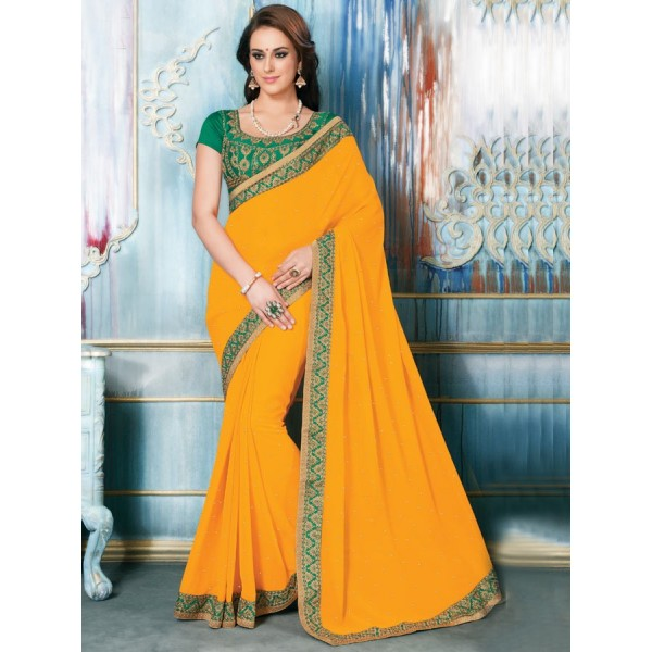 Orange Color Georgette Fabric Embroidered Design Party Wear Saree in Nepal.