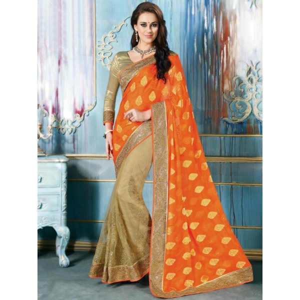 Orange Color Net Fabric Embroidered Design Party Wear Saree in Nepal.