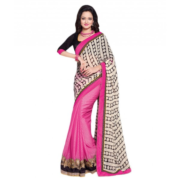 Pink And White Georgette Embroidered Saree With Blouse Piece And Fall Be th