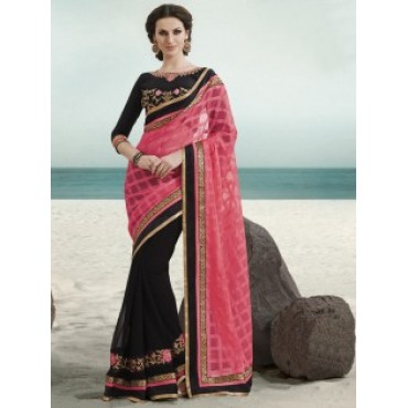 Pink Black Color Jacquard Chiffon Fabric Embroidered Design Party Wear Saree in Nepal.