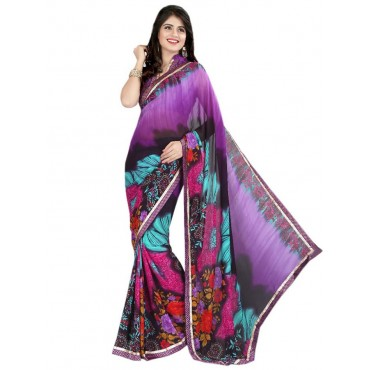 Pink,Black,Purple Faux Georgette Embroidered Saree in Nepal.