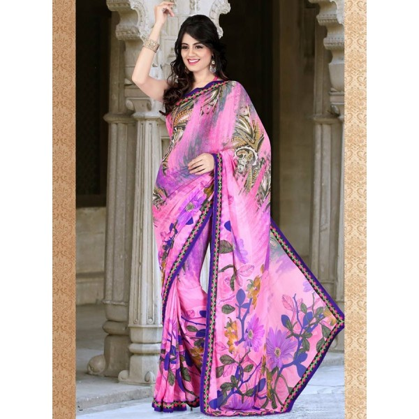 Pink Chiffon Embroidered Saree in Nepal.