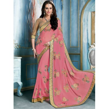 Pink Color Chiffon Fabric Embroidered Design Party Wear Saree in Nepal.
