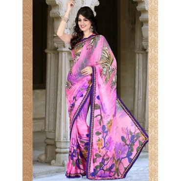 Pink,Purple Faux Georgette Embroidered,Printeded Saree in Nepal.