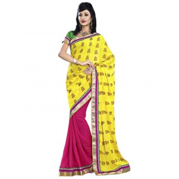 Pink,Yellow Silk,Georgette Embroidered Saree in Nepal.