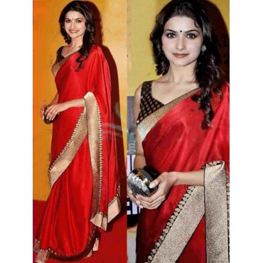 Prachi Desai Red Color Silk Fabric Embroidered Design Festive Wear Saree in Nepal.