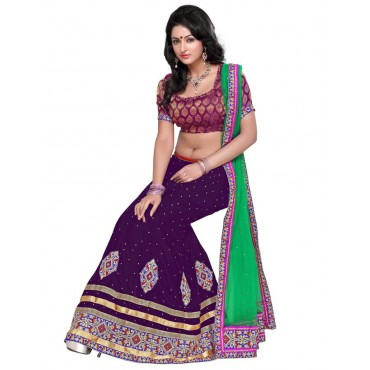 Purple, Green Net, Silk Lehenga in Nepal.