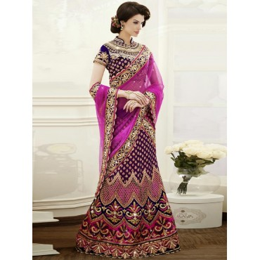 Purple, Viscose Jacquard and Satin with stone, zari Lehenga in Nepal.