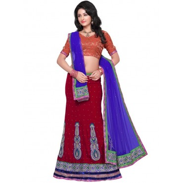 Red, Blue Net, Silk Lehenga in Nepal.