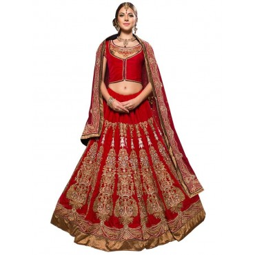 Red Brocade Velvet Net Wedding Wear Lehenga in Nepal.