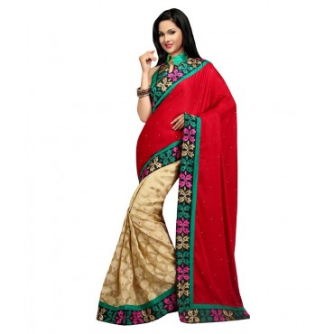 Red Designer Embroidered Party Wear Saree in Nepal