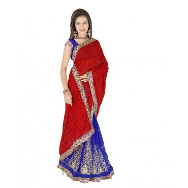 Red Embroidered Georgette Designer Saree in Nepal.