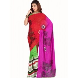 Red,Green,Pink Faux Georgette Printed Saree in Nepal.