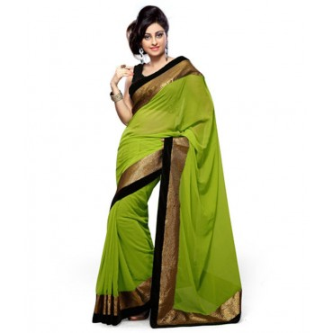 Saree Green Leheria Faux Chiffon Saree with Blouse Piece in Nepal.
