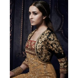 Shraddha Kapoor Brown Color Net, Chiffon Fabric Heavy Embroidered Party Wear Dress Material in Nepal.
