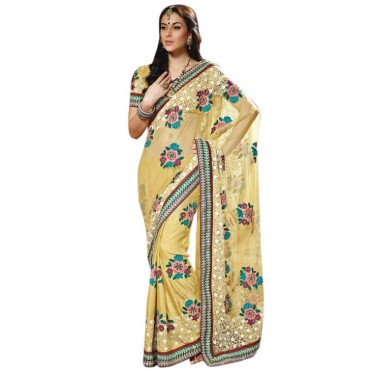 Suave Vanilla Embroidered Saree With Unstitched Blouse in Nepal