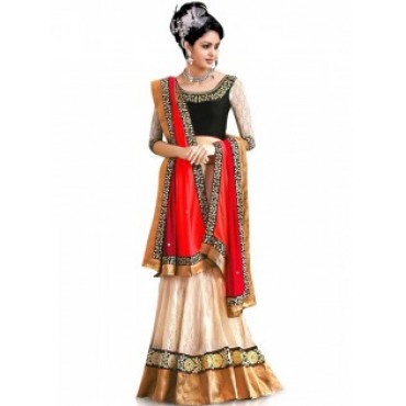 White And Black Chicken Net And Heavy Embroidery Elegant And Designer Lehenga