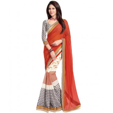 White And Orange Georgette Embroidered Saree With Blouse Piece And Fall in Nepal.