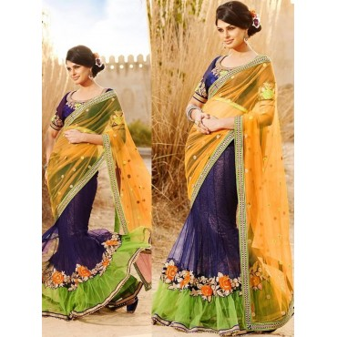 Yellow Color Chiffon & Georgette Fabric Embroidered Design Festive Wear Saree in Nepal.