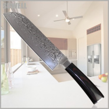 brand damascus knives 7 inch chef knife kitchen knives vg10 damascus steel Slicing santoku damascus kitchen knife in nepal
