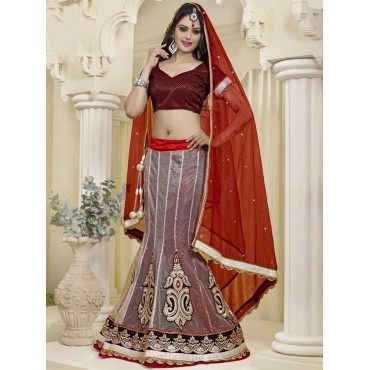 Red, Net, Santone, silk Embrodery, Zari, stone work Lehenga in Nepal.